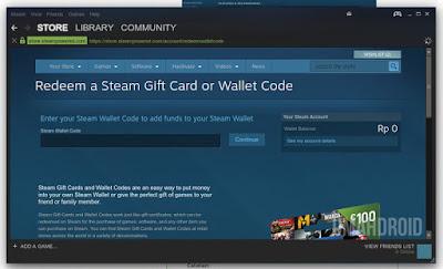 Masukan kode voucher steam wallet