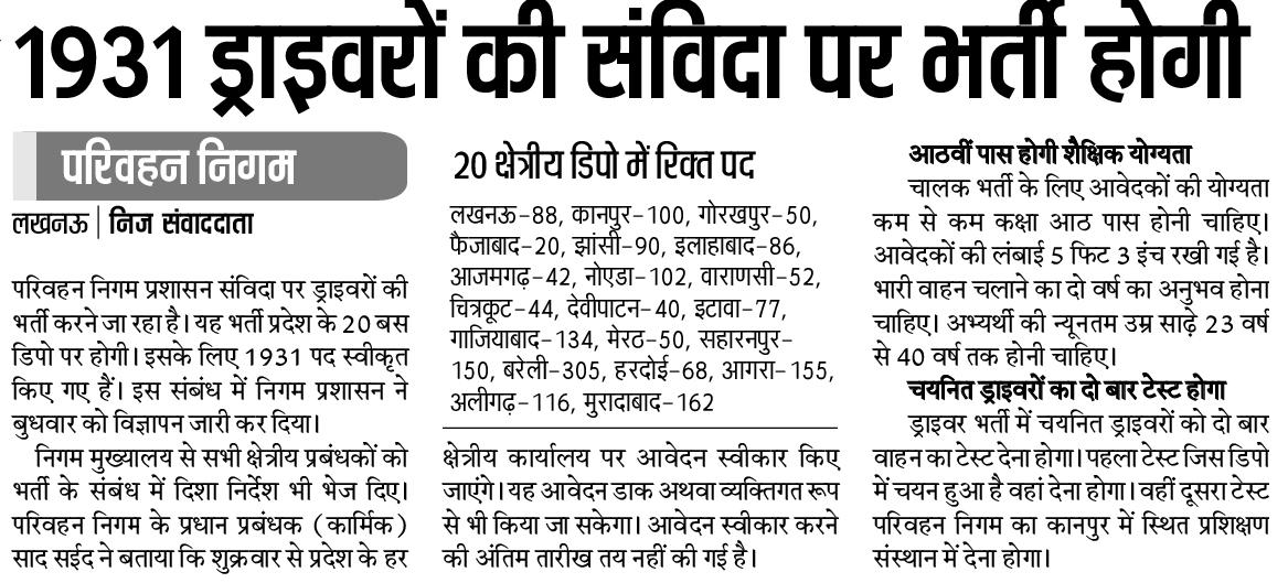 Upsrtc Vacancy 2018 127 Samvida Conductor In Lucknow