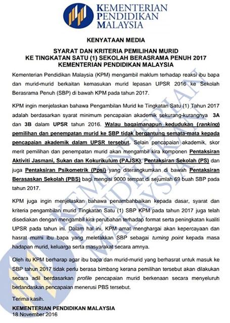 Syarat Pemilihan Kemasukan SBP Tingkatan 1 - 2017