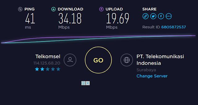 Tes kecepatan internet via Speedtest