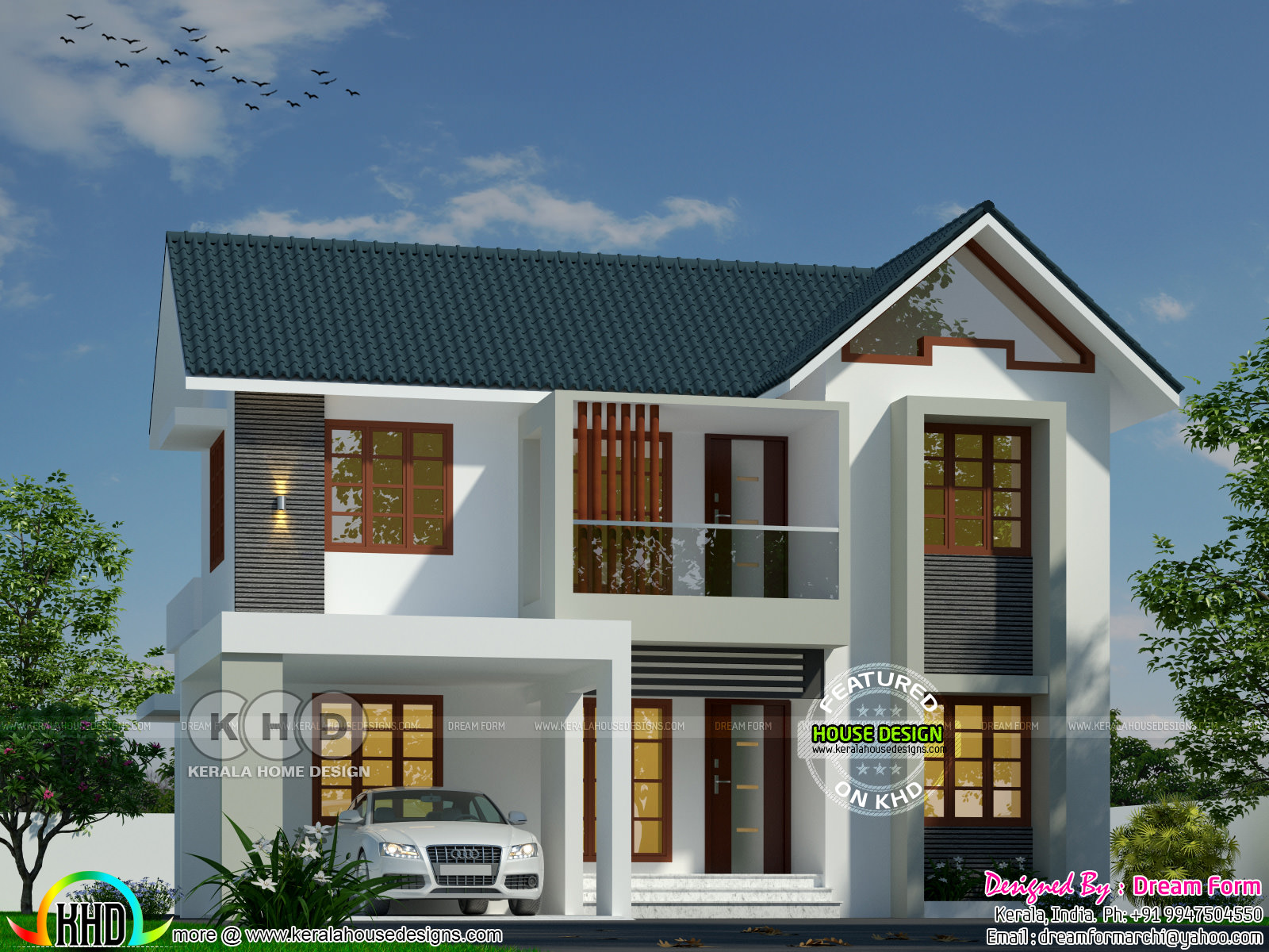 Sloping roof modern home by dream form kerala home for Kerala dream home plans