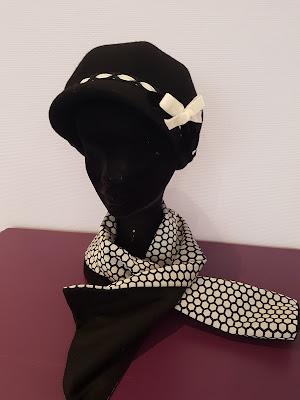 Patouche Chapeaux casquette rétro laine mérinos noeud velours