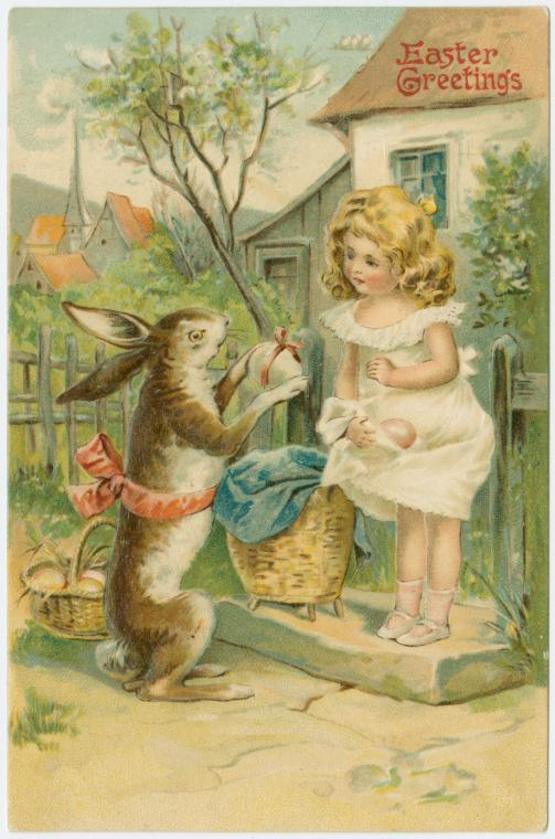 Feathers and flowers old fashioned easter greetings the easter bunny arrives m4hsunfo