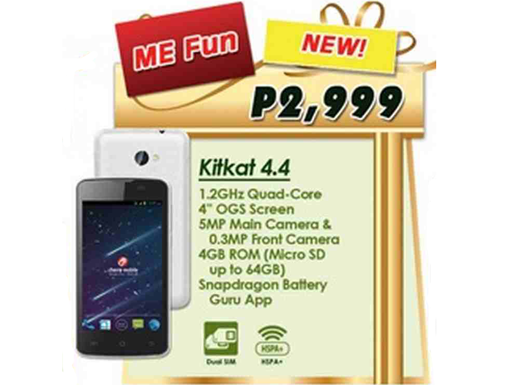 Cherry Mobile ME Fun, Android KitKat Smartphone with Snapdragon Processor Priced at Php 2,999