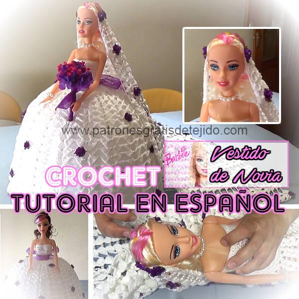 como tejer un vestido de novia para la muñeca Barbie