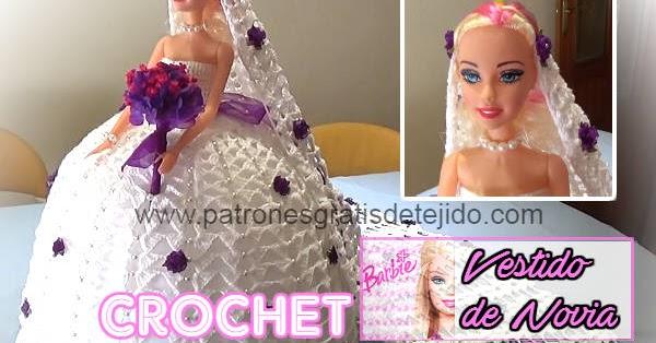 Vestido de Novia Crochet para Barbie / Tutoriales | Crochet y Dos ...