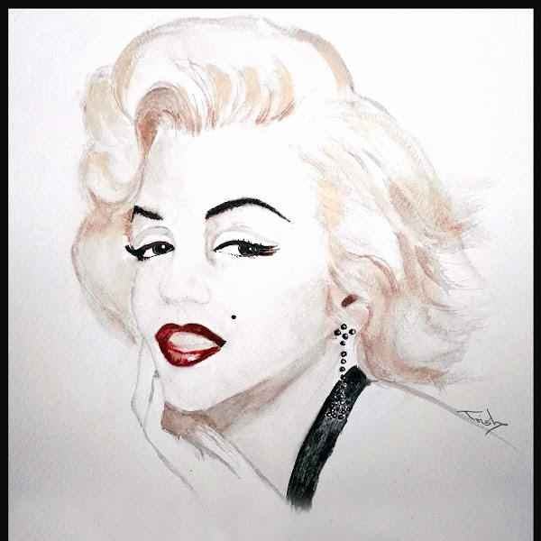 Inspired by Marilyn Monroe - water colour/acrylic painting