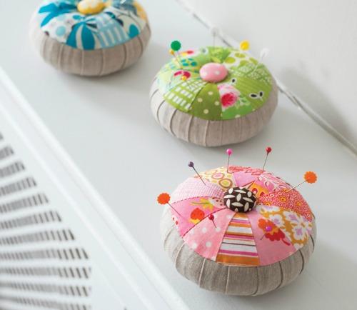 scrap fabric round pincushions
