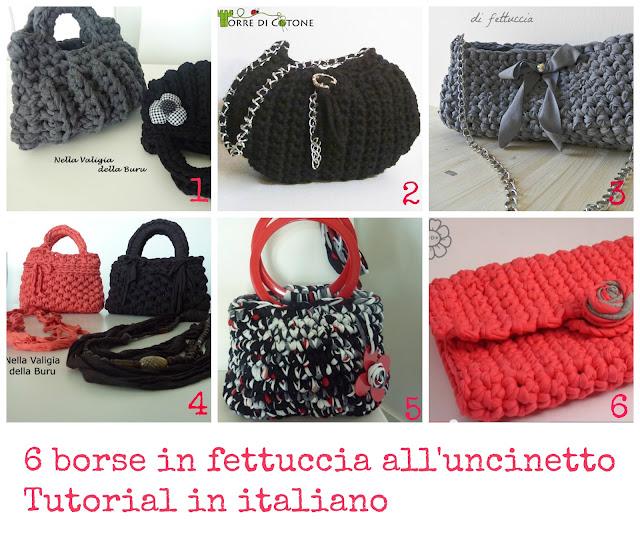6 borse in fettuccia all 39 uncinetto tutorial in italiano for Borse fettuccia uncinetto tutorial