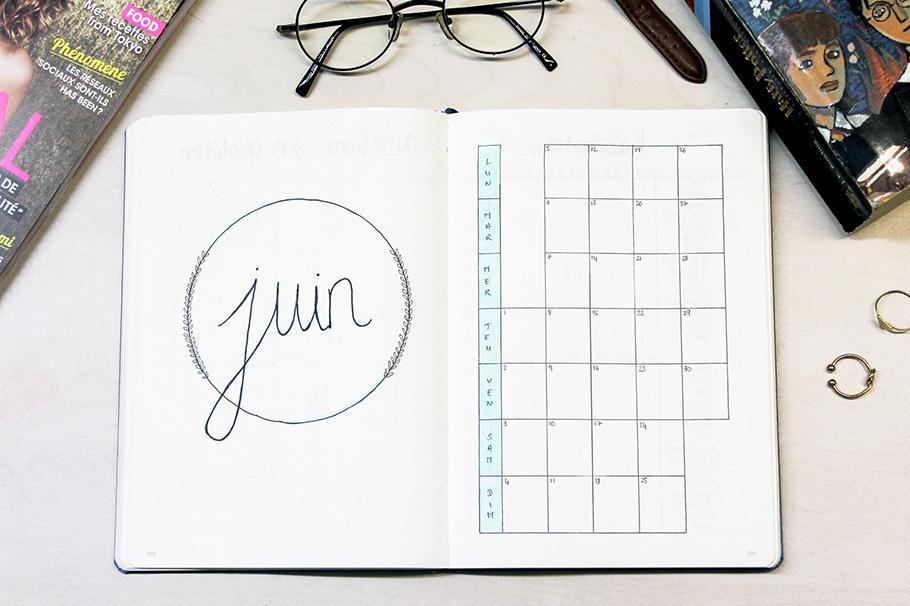 juin bullet journal mois vue mensuelle monthly