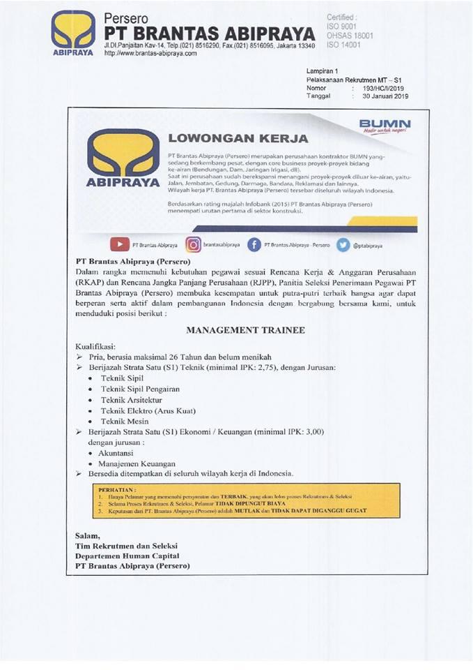 Lowongan Kerja PT. Brantas Abipraya 2019