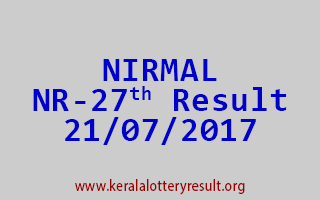 NIRMAL Lottery NR 27 Results 21-7-2017
