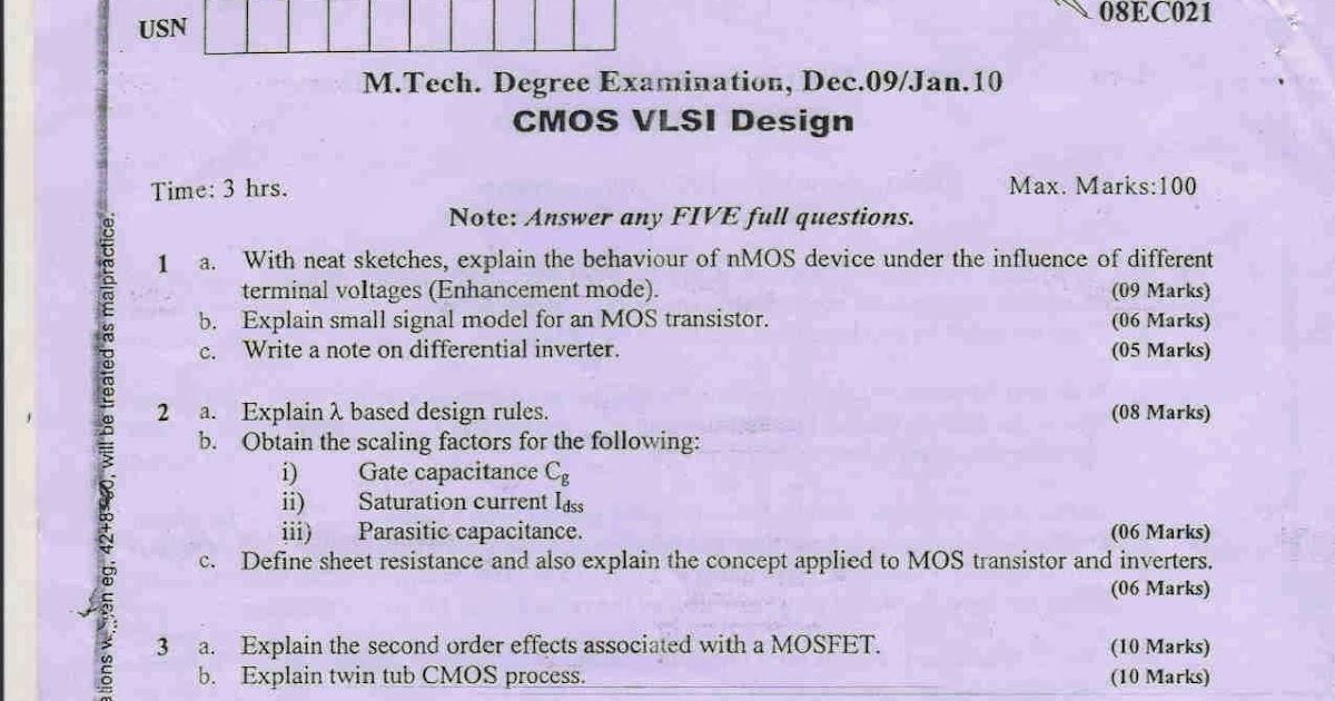 Cmos Vlsi Vtu Notes For 8th - letterpremium