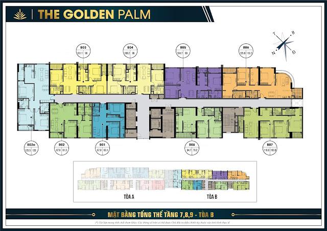 Mặt bằng thiết kế tầng 7, 8, 9 tòa B - The Golden Palm