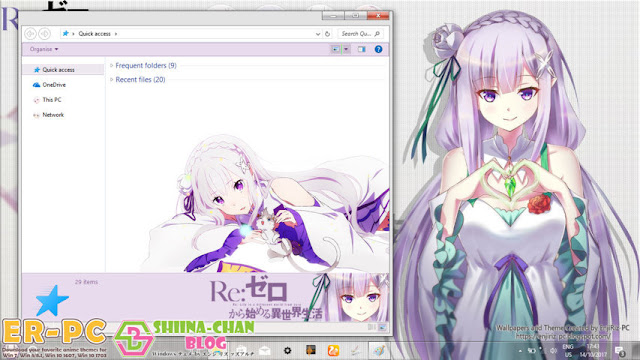 Windows 10 Ver. 1703 Theme Emilia - Re:Zero by Enji Riz