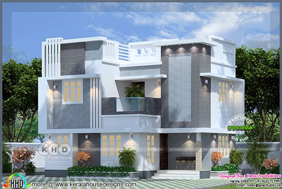 Cappuccino House in flat roof style Kerala home design