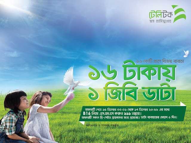 Teletalk announced a mega internet data offer. This offer is so amazing offer for the each teletalk users. Teletalk continue  provide great offer for their customers. So teletalk offering for the Bangladeshi  user. 16th December is the national wining day for the Bangladeshi peoples. That the day Bangladesh Get freedom for the Pakistan. So, Teletalk offering this offer for the respect and remember the freedom fighter. So, Each teletalk prepaid user can enjoy this offer between the 15th to 17th December.