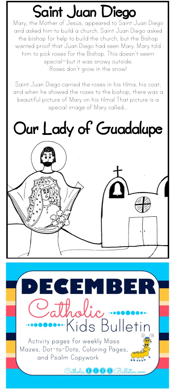 4 December Catholic Kids Bulletin Saint Juan Diego and Our Lady of Guadalupe