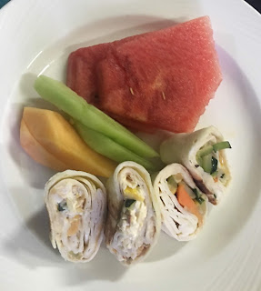 picture of vegetable wraps, watermelon, cantaloupe and pinemelon, What did you give up for Lent? Was it hard giving up junk food? What are my results?