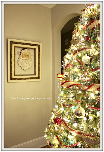 Vintage Inspired Farmhouse Christmas Tree-Vintage Santa-Tinsel On Tree-Christmas Lights- From My Front Porch To Yours