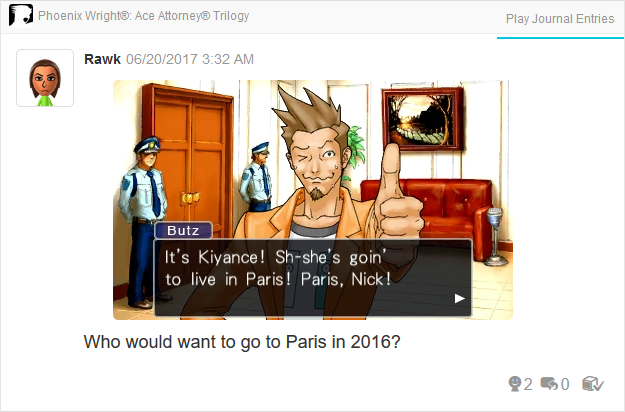 Larry Butz Kiyance girlfriend Paris Phoenix Wright Ace Attorney Trilogy 3DS Miiverse Capcom Nintendo