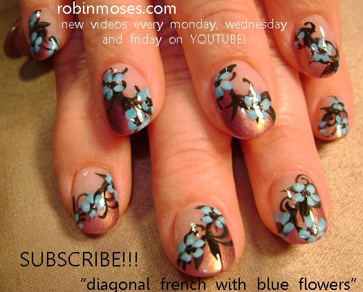 Nail Art By Robin Moses Blue Flower Nail Art Design Purple Flower