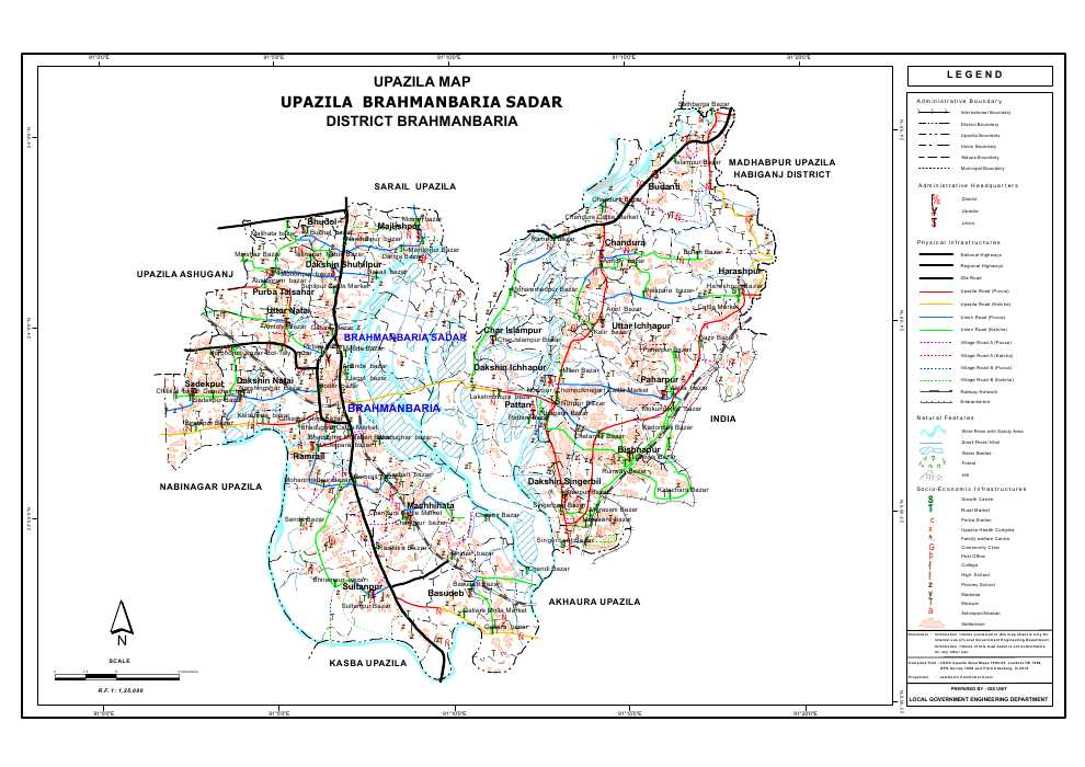 Brahmanbaria Sadar Upazila Map Brahmanbaria District Bangladesh