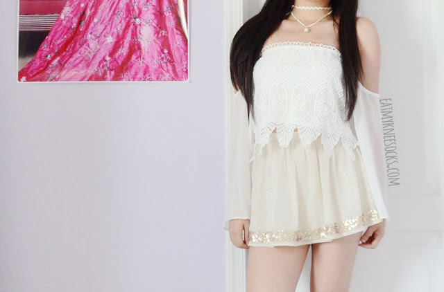 Details on the crochet lace off-shoulder chiffon bell sleeve boho-chic flowy crop top from Zaful.