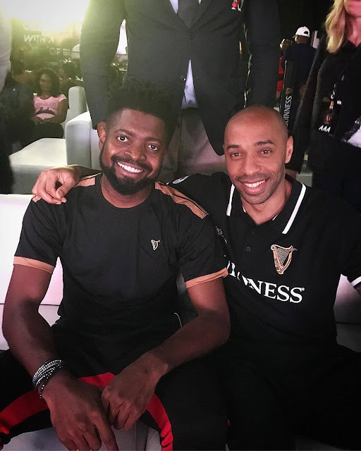 Basketmouth pictured with Thierry Henry in Lagos