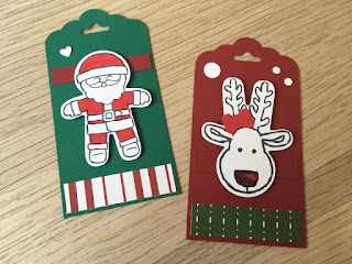 Christmas tags with scalloped Tag Topper Punch and Cookie Cutter Christmas