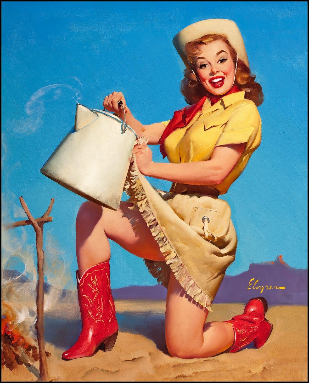 Vintage western pinup girl