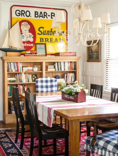 Vintage Nautical Beach Cottage Dining Room