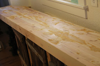 Pine butcher block counter, patched