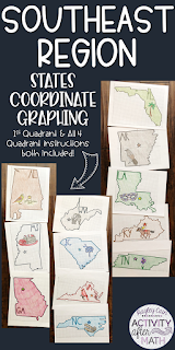Southeast Region States Coordinate Graphing Mystery Pictures BUNDLE