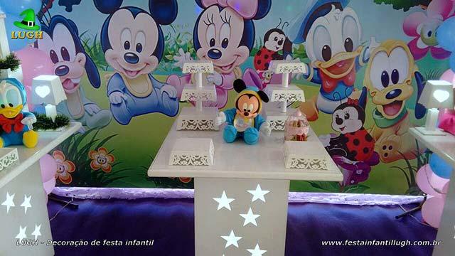 Mesa temática feminina Baby Disney - Rosa - Decoração de aniversário infantil
