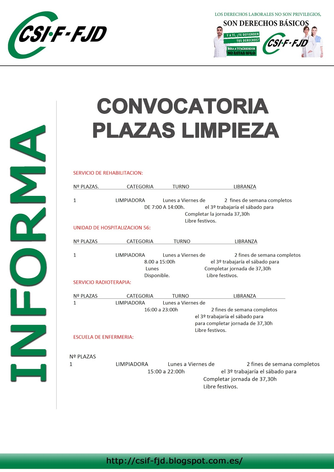 Csif fjd convocatoria de plazas en limpieza for Sep convocatoria plazas 2016