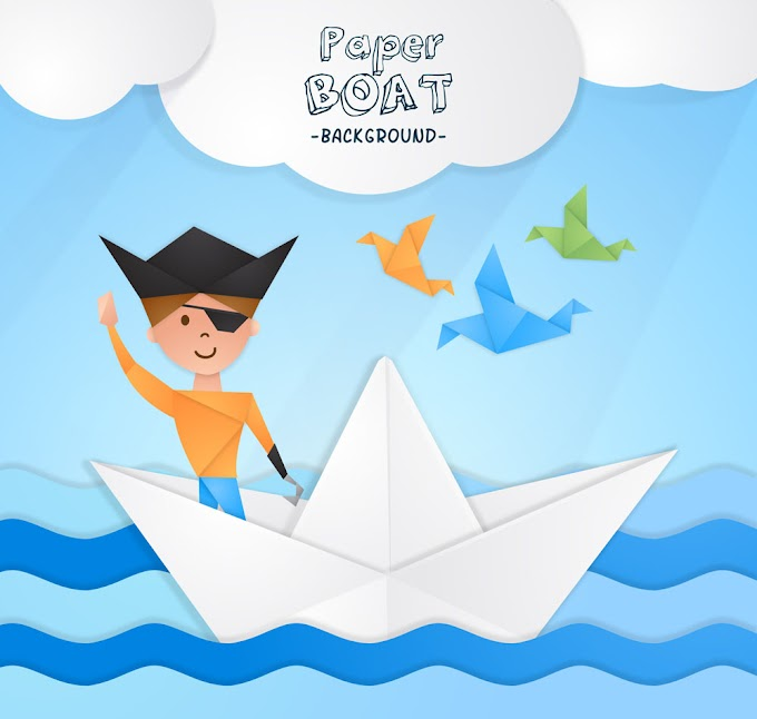 Pirate boy on creative paper boat free vector