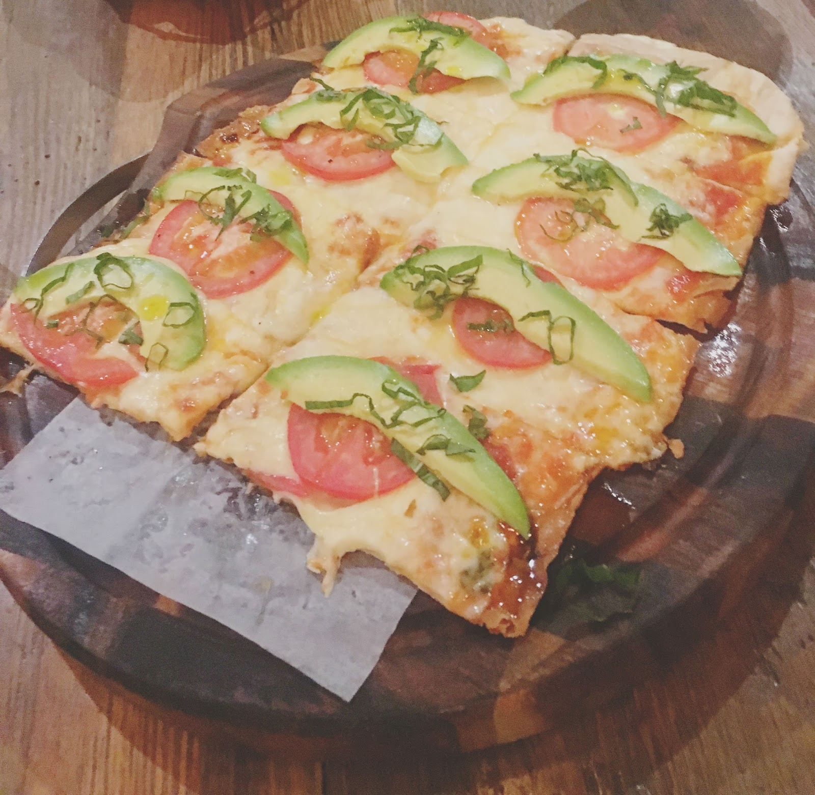 basil, tomato, mozzarella flatbread at Sal y Pimienta - A South American restaurant in Houston