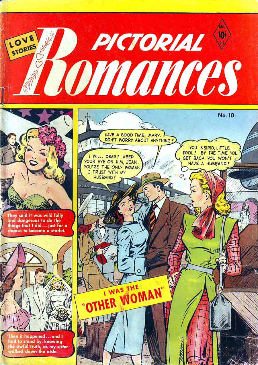 Pictorial Romances v1 #10  st. john romance comic book cover art by Matt Baker