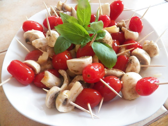 Marinated Mushrooms and Cherry Tomatoes