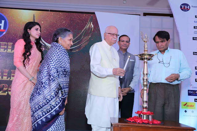 Savitri Devi Jindal,Srishti Rai Jindal,Shri L k Advani,Jayant Sinha, Suresh Prabhi (L to R) lighting the lamp for 3rd Travel and Hospitality award show.-1jpg
