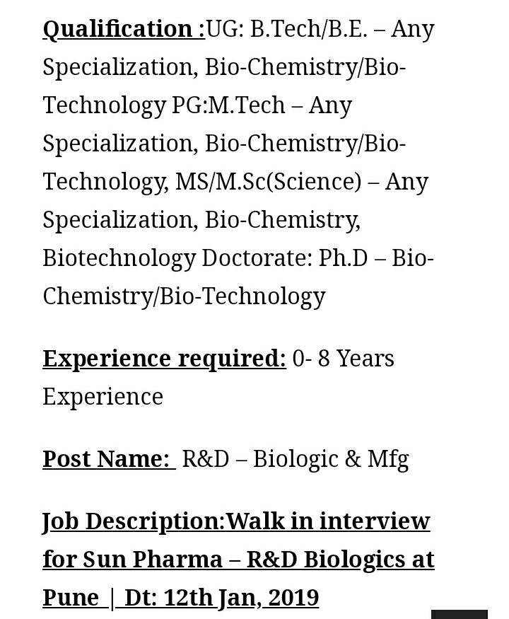 SUN PHARMA WAlk -IN Interview For Fresher's &Experience R&D