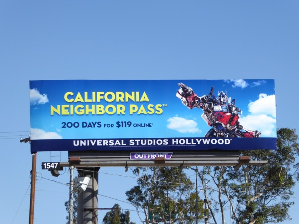 Universal Studios California Pass Transformers billboard