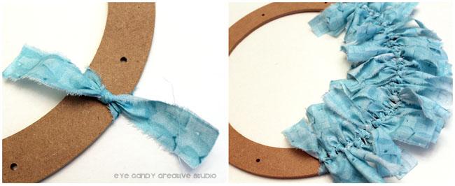 tear strips of fabric, rag wreath making, tie on strips of fabroc, wreath