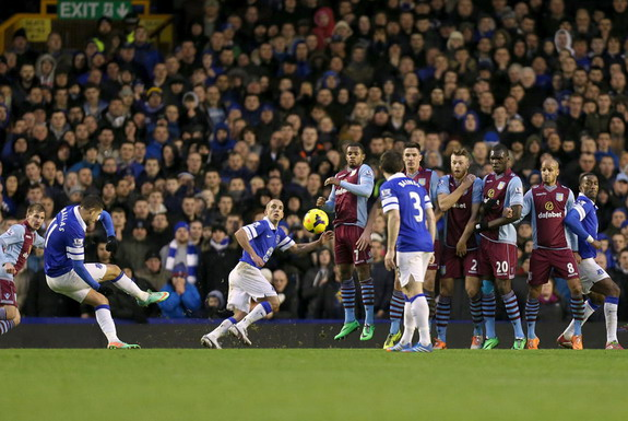 Kevin Mirallas scores Everton's winning goal against Aston Villa from a free-kick