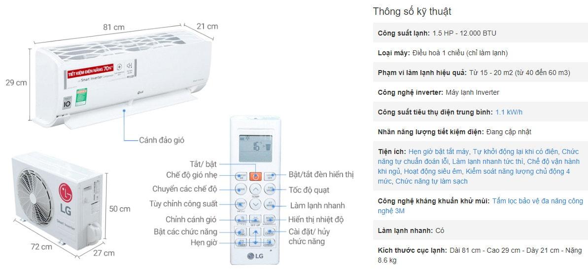 Máy lạnh lg 1.5 hp inverter - máy lạnh lg tiết kiệm điện