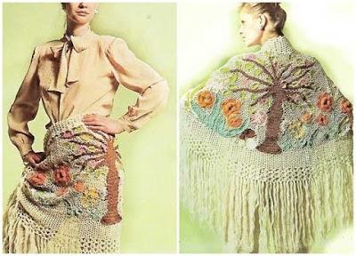 Chal jardin paraiso-arbol de la vida tejido con restos de lanas