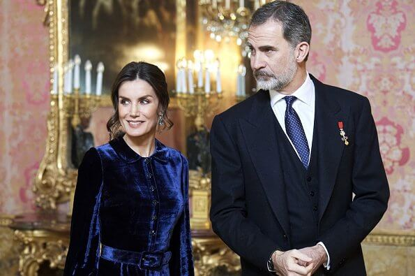 Queen Letizia wore a blue velvet gown by Spanish fashion house Felipe Varela, which she prefers to wear at these kind of events. aquamarine earrings