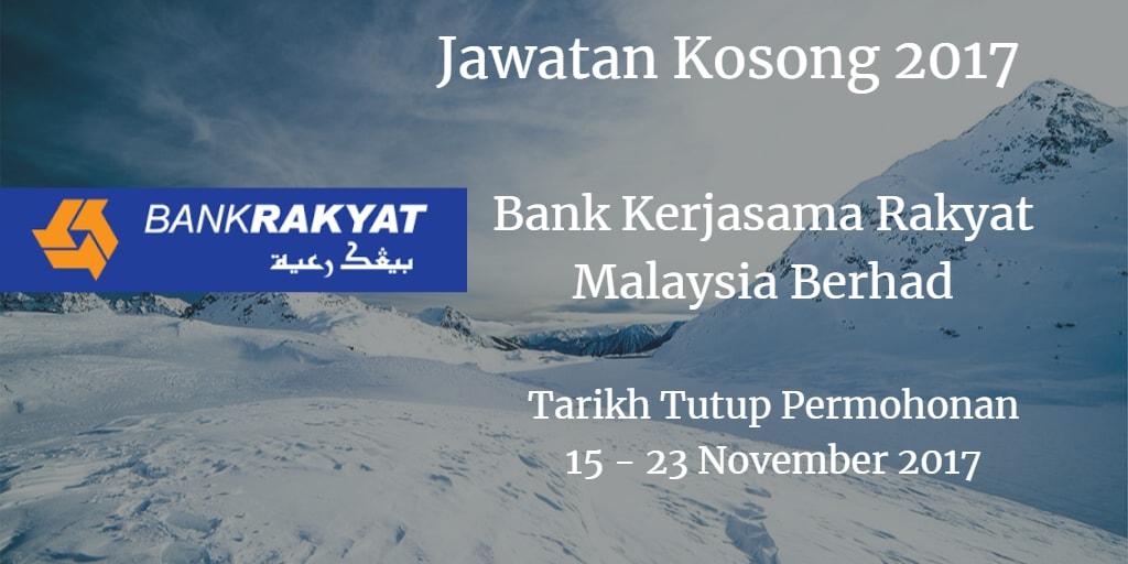 Jawatan Kosong Bank Rakyat 15 - 23 November 2017