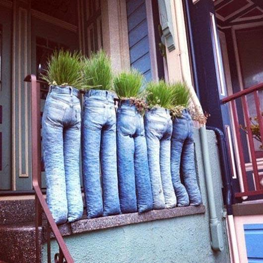 macetas con jeans